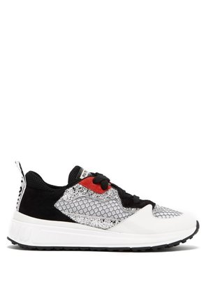 Miu Miu - Glitter Embellished Suede And Mesh Trainers - Womens - Black Red
