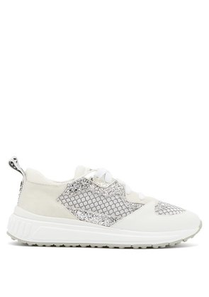 Miu Miu - Glitter Embellished Suede And Mesh Trainers - Womens - White Silver