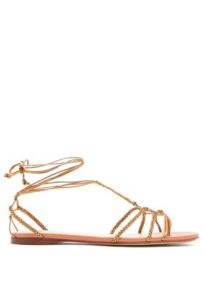 Francesco Russo - Braided Ankle Strap Leather Flat Sandals - Womens - Bronze