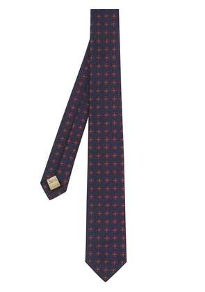 Burberry Modern Cut Graphic Floral Silk Jacquard Tie - Red