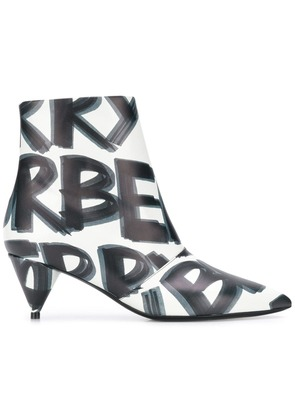 Burberry Graffiti Print Leather Ankle Boots - White