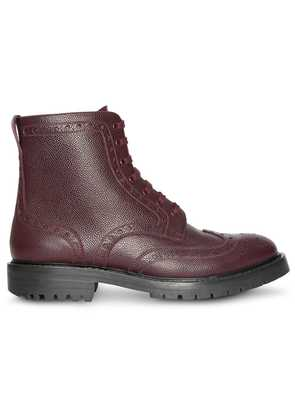 Burberry Brogue Detail Grainy Leather Boots - Red