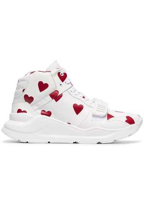 Burberry Heart Print Leather High-top Sneakers - White