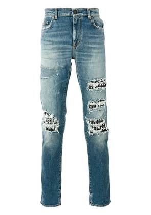 Saint Laurent studded distressed jeans - Blue