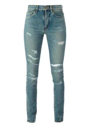 Saint Laurent ripped skinny jeans - Blue
