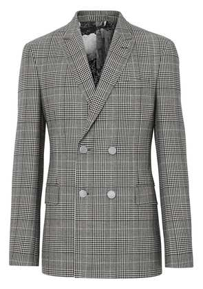 Burberry Slim Fit Check Wool Double-breasted Jacket - Grey