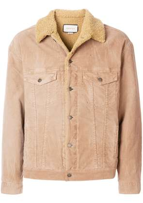 Gucci embroidered corduroy jacket - Neutrals