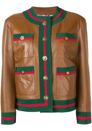 Gucci Web trim leather jacket - Brown