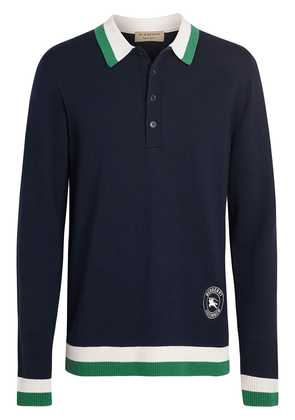 Burberry stripe detail polo shirt - Blue