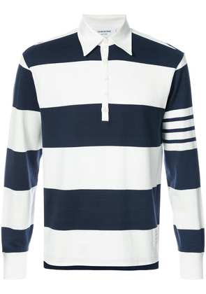 Thom Browne Long Sleeve Polo With 4-Bar Stripe In Blue And White Rugby