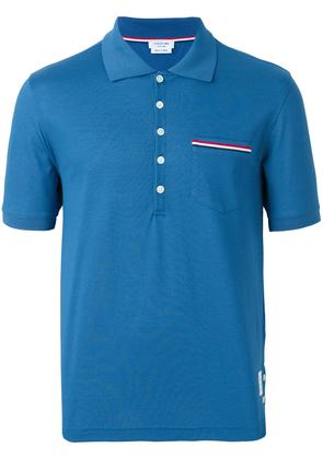 Thom Browne striped pocket polo shirt - Blue