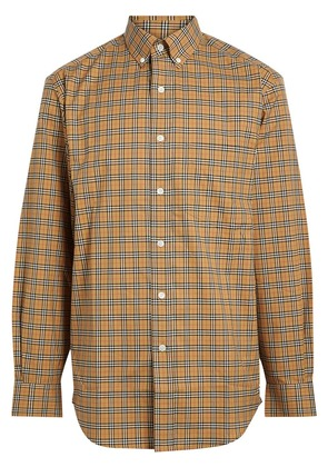 Burberry Small Scale Check Cotton Shirt - Yellow