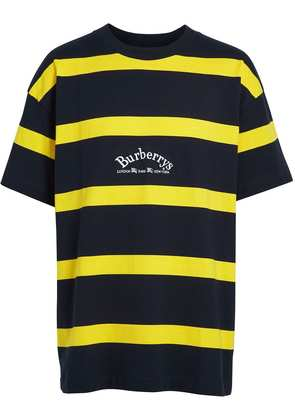 Burberry Embroidered Archive Logo Striped Cotton T-shirt - Blue