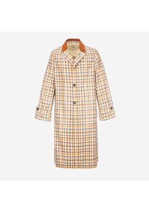 Bally Laminated Cotton Coat Brown, Men's cotton coat in multi-camel