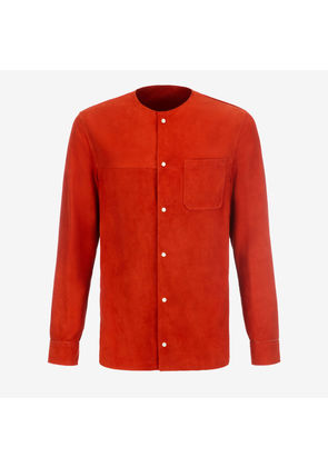 Bally Collarless Suede Shirt Red, Men's suede shirt in papavero
