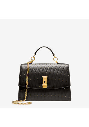 Bally Lyla Black, Women's quilted calf leather small top handle bag in black