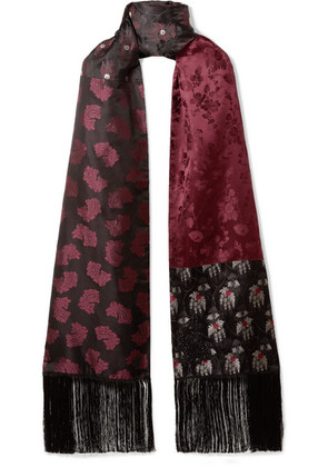 Alexander McQueen - Fringed Silk-jacquard And Cashmere Scarf - Black