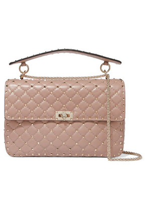 Valentino - Valentino Garavani The Rockstud Spike Large Quilted Leather Shoulder Bag - Blush