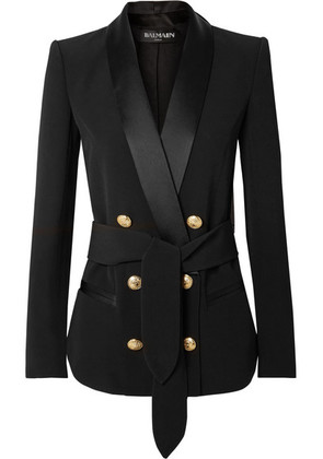 Balmain - Belted Double-breasted Crepe Blazer - Black