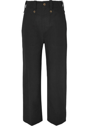 Bassike - Cotton And Linen-blend Drill Wide-leg Pants - Black