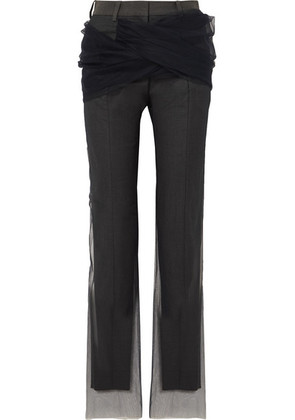Y/PROJECT - Twisted Tulle And Twill Straight-leg Pants - Dark gray