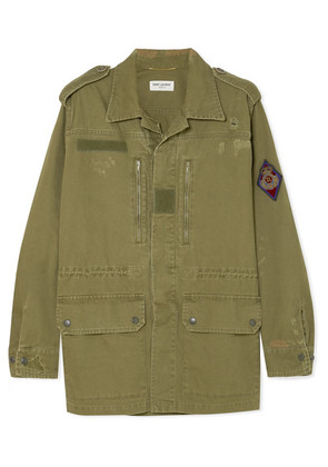 Saint Laurent - Appliquéd Distressed Cotton And Ramie-blend Gabardine Jacket - Army green