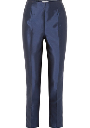 Gabriela Hearst - Masto Silk And Wool-blend Tapered Pants - Navy