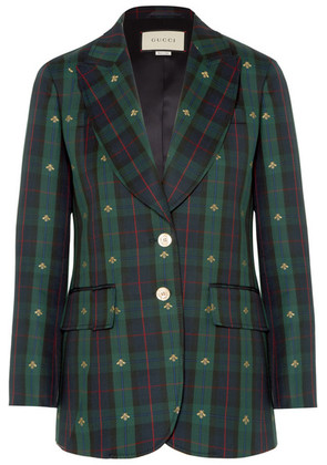 Gucci - Embroidered Checked Wool Blazer - Green