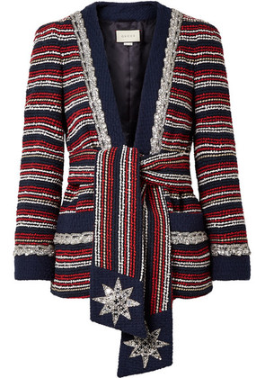 Gucci - Embellished Striped Cotton-blend Bouclé-tweed Blazer - Navy