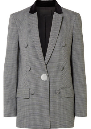 Alexander Wang - Velvet And Leather-trimmed Houndstooth Woven Blazer - Gray