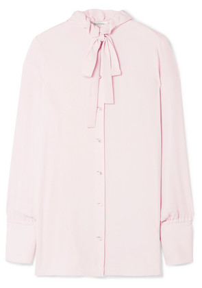 Valentino - Pussy-bow Embellished Silk Blouse - Baby pink