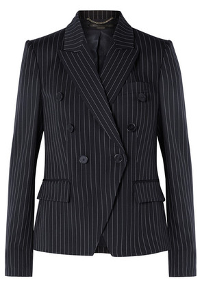 Stella McCartney - Double-breasted Pinstriped Wool-blend Blazer - Midnight blue