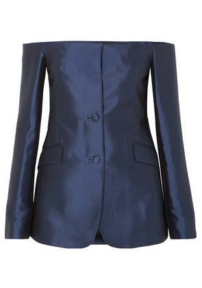 Gabriela Hearst - Dorothea Off-the-shoulder Silk And Wool-blend Blazer - Navy