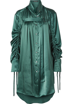 Ann Demeulemeester - Oversized Ruched Silk-charmeuse Blouse - Petrol