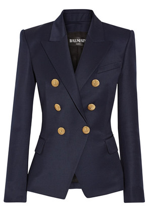Balmain - Double-breasted Wool-twill Blazer - Navy