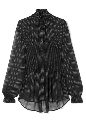 Balenciaga - Smocked Polka-dot Georgette Blouse - Black