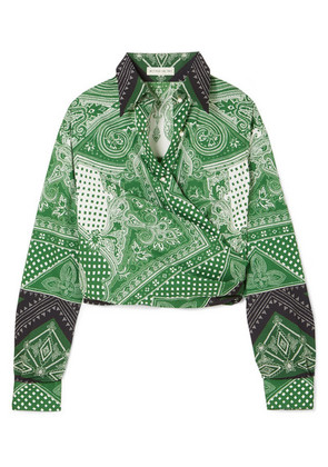 Etro - Cropped Printed Cotton-blend Wrap Top - Green