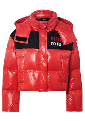 Miu Miu - Cropped Two-tone Quilted Shell Down Jacket - Red
