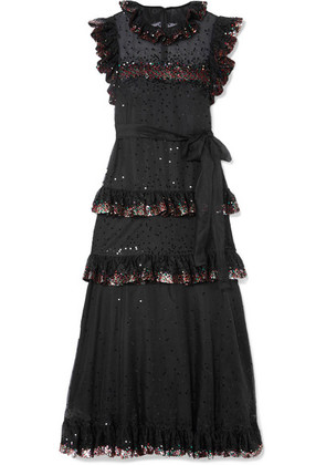 Valentino - Ruffled Tiered Sequin-embellished Tulle Gown - Black