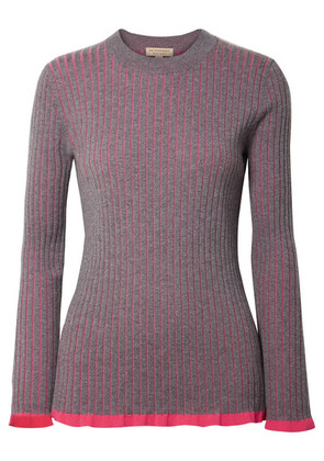 Burberry - Striped Ribbed Cashmere And Silk-blend Sweater - Purple