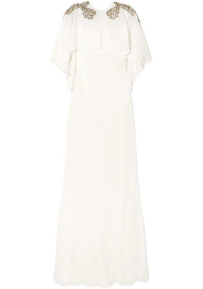 Alexander McQueen - Cape-effect Embellished Crepe Gown - Ivory