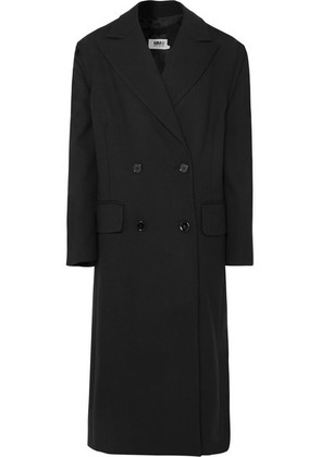 MM6 Maison Margiela - Bow-detailed Double-breasted Cady Coat - Black