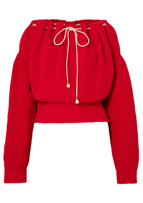 CALVIN KLEIN 205W39NYC - Ruched Ribbed Cotton Sweater - Red