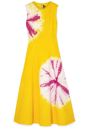 CALVIN KLEIN 205W39NYC - Tie-dyed Denim Midi Dress - Yellow