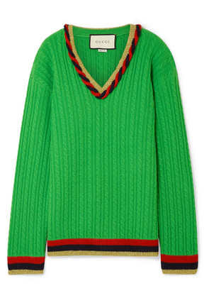 Gucci - Lurex-trimmed Cable-knit Wool And Cashmere-blend Sweater - Green