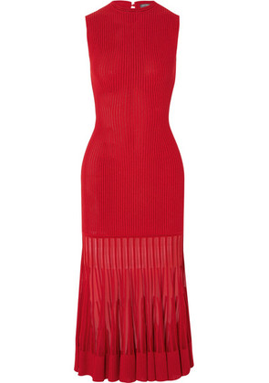 Alexander McQueen - Mesh-paneled Ribbed Stretch-knit Dress - Red