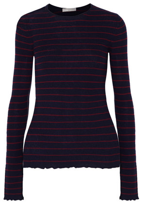 Vince - Striped Ribbed Cashmere Sweater - Navy