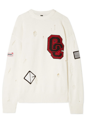 Opening Ceremony - Varsity Appliquéd Distressed Cotton-blend Sweater - Off-white