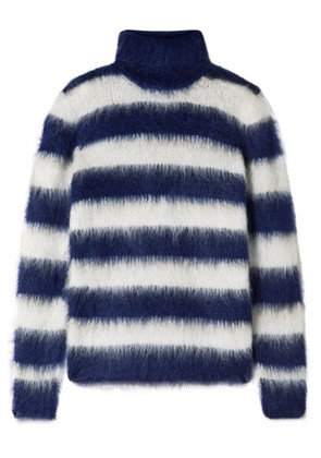 Michael Kors Collection - Striped Mohair-blend Turtleneck Sweater - Navy