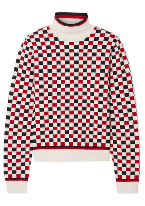 Gucci - Checked Wool-blend And Terry Turtleneck Sweater - Ivory